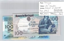 2 BILLETS PORTUGAL - 100 ESCUDOS - 12.3.85 et 16.10.86