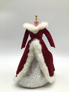 Barbie Doll Holiday Christmas Red Velvet Silver Poinsettia Faux Fur Dress Gown