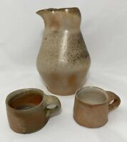 Art Pottery Handmade Pitcher with 2 Tiny Mugs Speckled Peach Glazed Made in USA