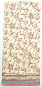 Anokhi Long Pink/Ivory Floral 100% Cotton Scarf Made in India
