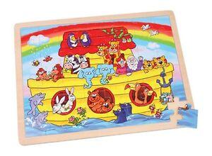 """Puzzle in legno """"L'arca di Noè con animali e arcobaleno"""", 48 pezzi, cm 40x30"""