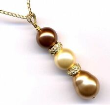 Gold Champagne Brown Graduated Rondelle Shell Pearls CZ Sterling Silver Pendant