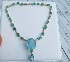 Santa Maria Huge 106 carat Aquamarine Emerald & 2.4 carat Diamond 14k necklace