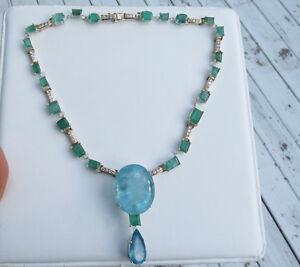 Santa Maria Huge 106 carat Aquamarine Emerald & 2.4 carat Diamond 14k necklace