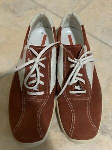PRADA Men's Red White Leather Suede Sneakers Size EU 40 US 7-7.5 Italy