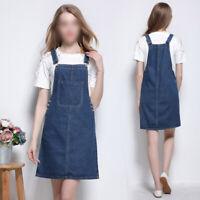 New Womens Denim Overall Dress Suspender Skirt Casual Knee-length Jumper Dress