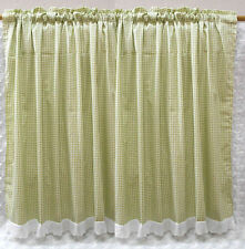 Country Style Green Grid Cotton Cafe Curtain/ lace Kitchen Curtain/Door curtain