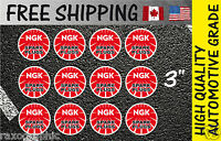 "(12) NGK kit factory racing sticker 3"" spark plugs decals motocross quad atv"
