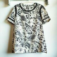 Daniel Rainn Floral Tunic w Crochet Lattice Detail Women's Size XS career blouse