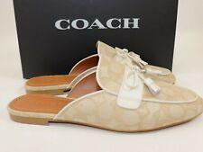 NIB $197 COACH Size 9 Women's Light khaki Jacquard Chalk Leather STASSI Slide