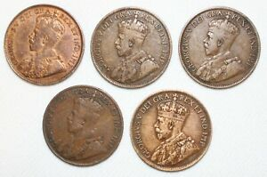 5 Coin Lot 1916-1919 Canada Large Cent Coins 1c Canadian Bronze Pennies YG Circ