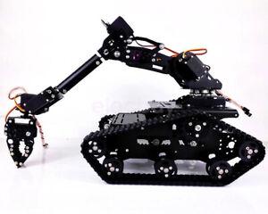 DIY Metal Robot Tank Chassis Tracked Vehicle 7 DOF Robot Arm With Digital Servo