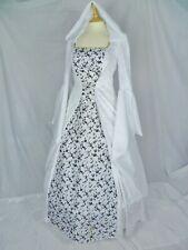 Vestido de boda Blanco y Negro con Capucha Medieval talla personalizado hecho a del Renacimiento