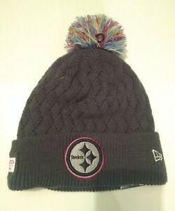 PITTSBURGH STEELERS New Era Women's 2019 NFL Crucial Catch Cuffed Pom Knit Hat