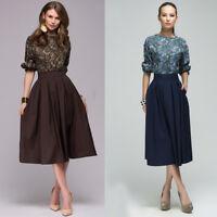 Chic Women Retro Pleated Skirt 3/4 Sleeve Hight Waist Cocktail Party Midi Dress