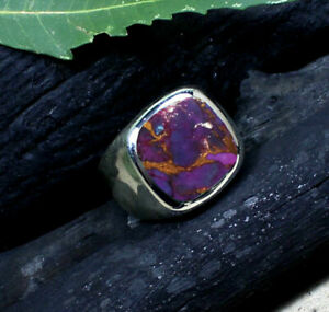 Purple Copper Turquoise Gemstone Solid 925 Sterling Silver Husband Gift Men Ring