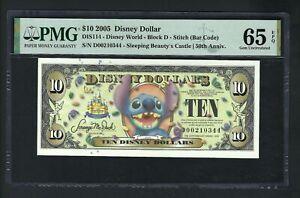 Disney Dollar 10 $ 2005 DIS95 Stitch Block D Uncirculated Grade 65