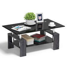 Rectangular Glass Coffee End Side Table w/ Shelf Living Room Furniture Black