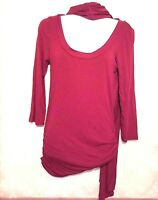 F.A.N.G Womens Shirt Maroon Knit Long Sleeve Tunic Top Size M Attached scarf