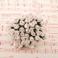 White Mulberry Paper Rose Buds Flowers Crafts Card Making Wedding Bud010