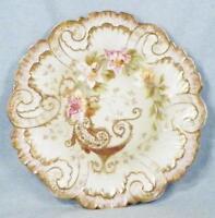 Limoges Cabinet Plate AK CD Hand Painted Pink Flowers Gold Lattice Klingenberg