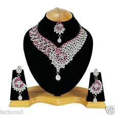 Partywear & Wedding Silver Plated Zerconic Necklace Set Jewelry Earrings Tika