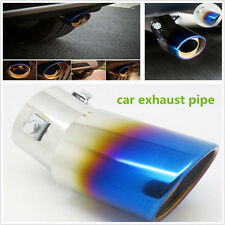 Car Rear Universal Bend Stainless Steel Oval Round Exhaust Pipe Tail Muffler Tip