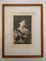 Framed Etching Print Johann Klaus after Leopold Müller 'The Lute Player'  1881