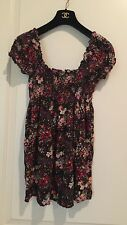 H&M Garden Collection Woman's Smocked Floral Cap Sleeve Top, SZ XS