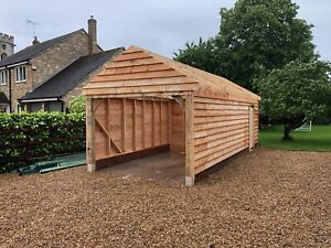 Single Bay Green Oak Framed (Oak Fronted) Full Height Eaves Garage / Cartlodge