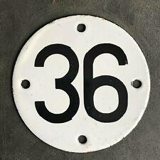 HOME GARAGE SHOP GATE ENAMEL NUMBER 36 PLATE SIGN