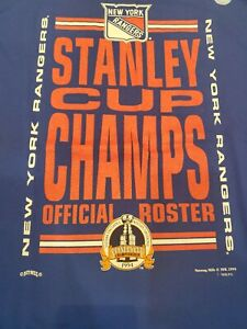 Vtg 94 New York Rangers NHL Stanley Cup Champions Roster T Shirt Blue XL New NWT