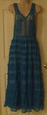 No Brand Crocheted Bodice Cotton Medium Aqua Chic Summer Blue Women's Dress