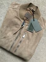 "ALL SAINTS SAND ""KEMBLE"" SUEDE LEATHER BOMBER JACKET COAT - SMALL - NEW & TAGS"