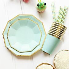 Plates And Cups Disposable Gold 49 pcs Set Paper Straws Wedding Party Cutlery