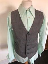 VINTAGE 70'S GREY CHECK DRESS MOD DAPPER WAISTCOAT VEST LARGE