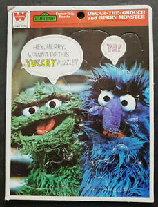 2 Oscar The Grouch Frame Tray Puzzles - Whitman - 1977 - 1981 - Herry + Newscan