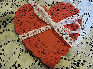 12 💝 PCS 4 IN xtra LACEy HEART RED PAPER DOILIES CRAFTS love cards FREE SHIP