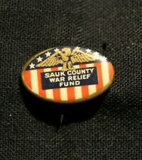 """New listing Vintage Sauk County Wi War Relief Fund button lapel pin 1"""" wide x 1/2"""" tall"""