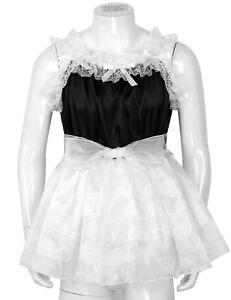Unisex Sissy French Maid Dress Lingerie Mens Satin Fancy Costume Nightwear XXL