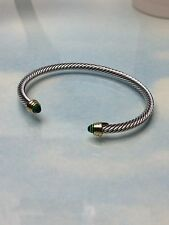 Green Emerald Crystal  Silver & Gold Finish Designer Inspired Open Cuff Bracelet