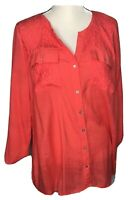 kim rogers curvy womens blouse 2x 18-20 plus coral/orange lace accents roll tab