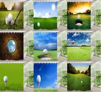 180x180cm Golf Ball Field Bathroom Fabric Shower Curtain Waterproof 12 Hooks