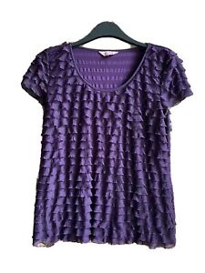 PURPLE Phase Eight Ladies Summer Top   Size  16 Waterfall Frills Lightly Worn