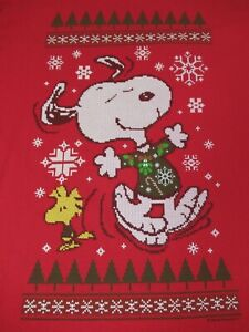 PEANUTS SNOOPY WOODSTOCK DANCING CHRISTMAS SWEATER RED XL T-SHIRT F1318