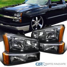Fit 03-07 Chevy Silverado Avalanche Pickup Black Headlights+Parking Bumper Lamps