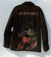 NWT DISNEY MICKEY MOUSE Brown Mens Corduroy Jacket Coat Sz SMALL Quilted Lining