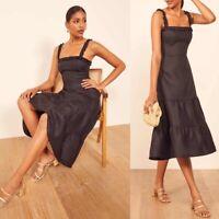 Reformation Hyla Linen Midi Dress in Black Size 12