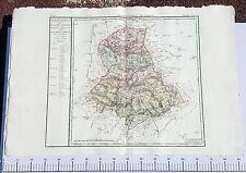 Dépt 87 - XVIII ème Grande Carte Aquarellée de la Haute Vienne 86x58 cm de 1790