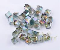 Bulk 6mm 50pcs Rose Green Faceted Cube Square Crystal Glass Loose Spacer Beads